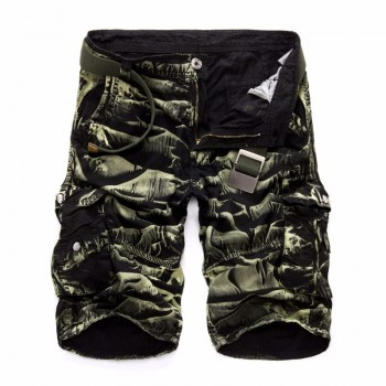 Men Cargo Shorts Casual Loose Short Pants Camouflage Military Summer Style Knee Length