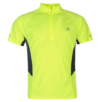 Тениски - Karrimor Zipped Short Sleeved T Shirt Mens Yellow