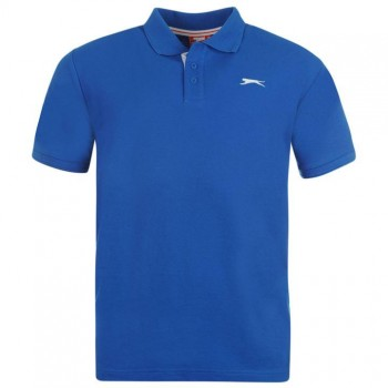 Slazenger Plain Polo Shirt Mens Blue