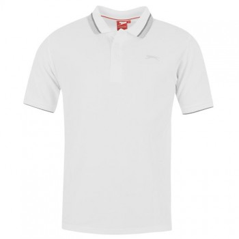 Тениски - Slazenger Tipped Polo Shirt Mens White
