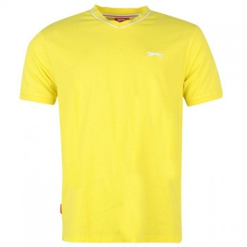Slazenger V Neck T Shirt Mens Yellow